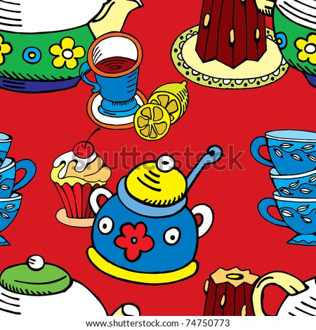 tea and cake. seamless background - stock vector