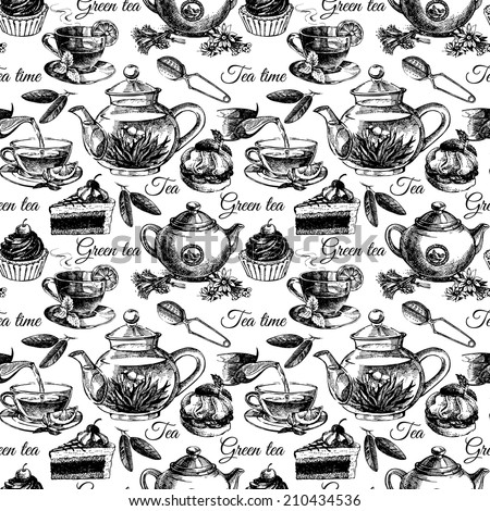 Tea and cake seamless pattern. Hand drawn sketch vector illustration. Menu design - stock vector