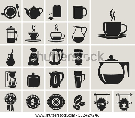 tea and coffee black icon set - stock vector