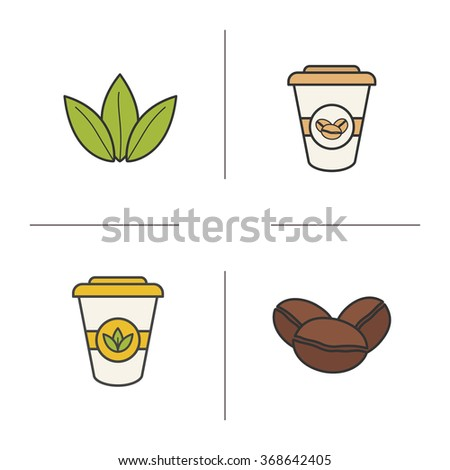 Tea coffee color icons set roasted stock vector 368642405 shutterstock tea and coffee color icons set roasted coffee beans green tea leaves and disposable thecheapjerseys Image collections