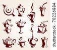 Tea and coffee elements set - stock vector