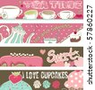 tea and cupcakes banners - stock vector