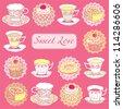 Tea and Desserts - Vintage Menu Card in vector - stock vector