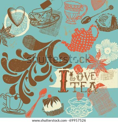 tea background - stock vector