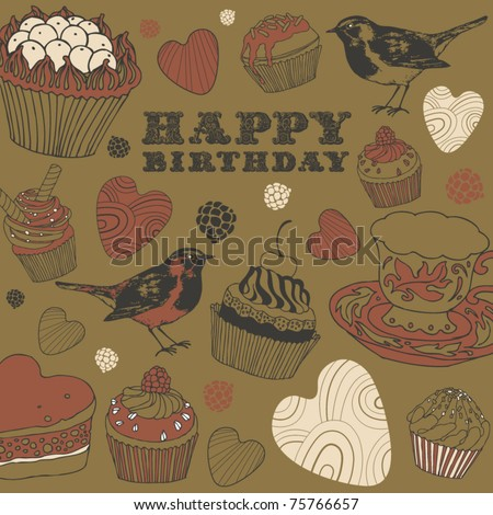 tea background with birds and kettles - stock vector