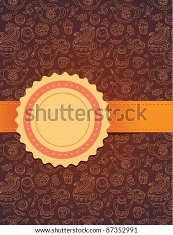 tea background with ribbon - vector illustration - stock vector
