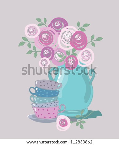 tea background with teacups and flowers - stock vector