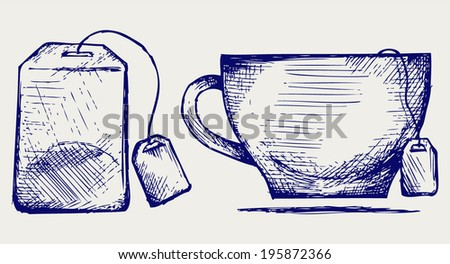 Tea bag and cup. Doodle style - stock vector