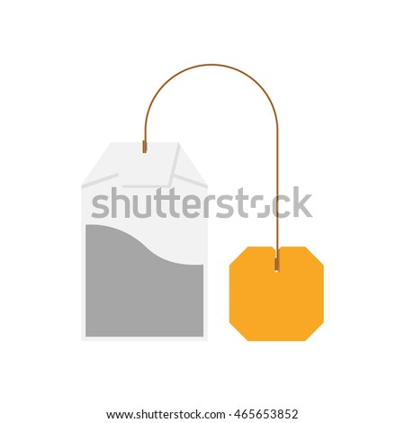Tea bag isolated on white background. Blank label as a template. Icon in flat design, vector illustration.