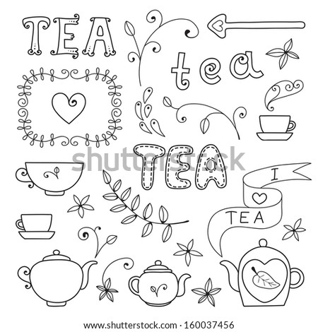 Tea card. Set of elements for design. - stock vector