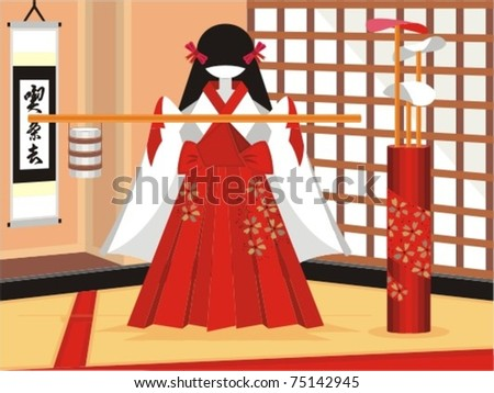 Tea Ceremony. A japanese female figure at a typical oriental room joining a tea ceremony. - stock vector