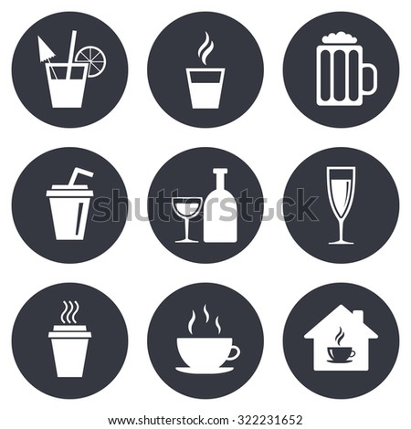 Tea, coffee and beer icons. Beer, wine and cocktail signs. Take away drinks. Gray flat circle buttons. Vector