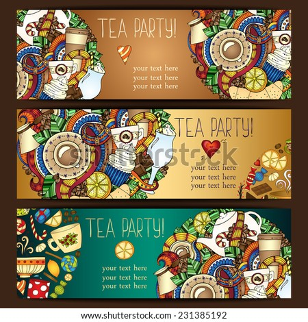 Tea, coffee and sweets doodle template pattern invitation. Greeting card. Tea Branding Design. Breakfast Banners with cups, teapot, chocolate, lemon, cake, croissant and sweets. - stock vector