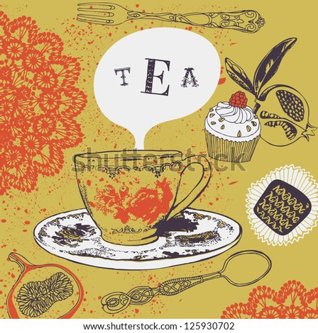 tea cup and sweets - stock vector