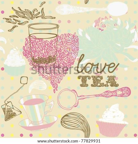 tea cup background - stock vector