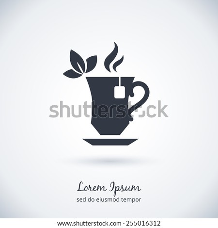 Tea cup logo. Tea ceremony and tea bag, flavor and taste. Vector illustration - stock vector