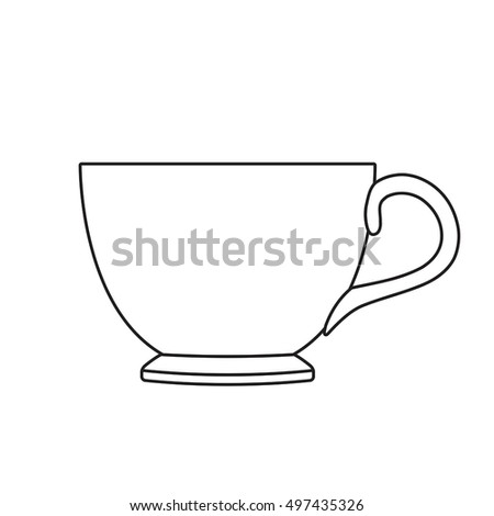 Tea cup. Outline vector illustration isolated on white background