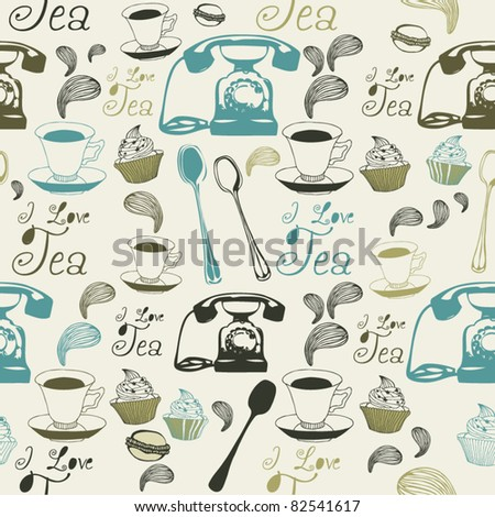 tea cup seamless background - stock vector