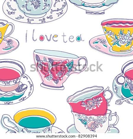 tea cups - stock vector