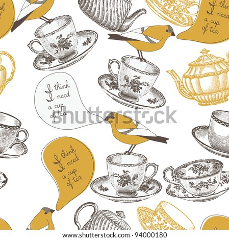 tea cups and birds. seamless pattern - stock vector