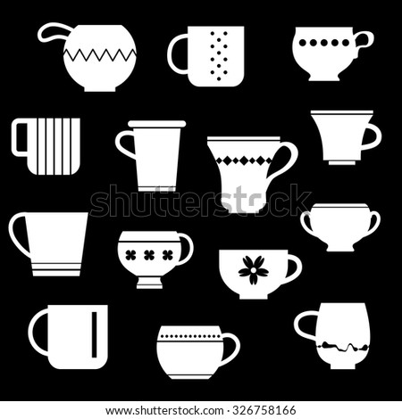 Tea cups and coffee mugs collection. Crockery set silhouettes vector illustration. Ceramic tableware. - stock vector
