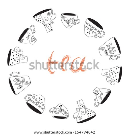 Tea cups frame funny banner hand drawn design - stock vector