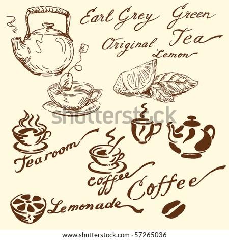 tea doodles - stock vector