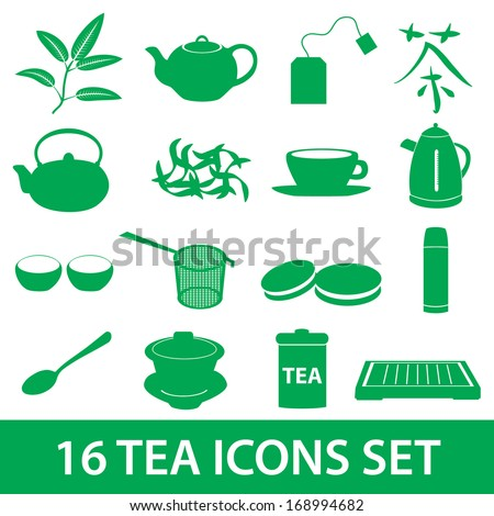 tea icons set eps10 - stock vector