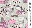 Tea love seamless pattern - stock photo