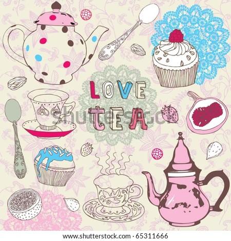 tea love set - stock vector