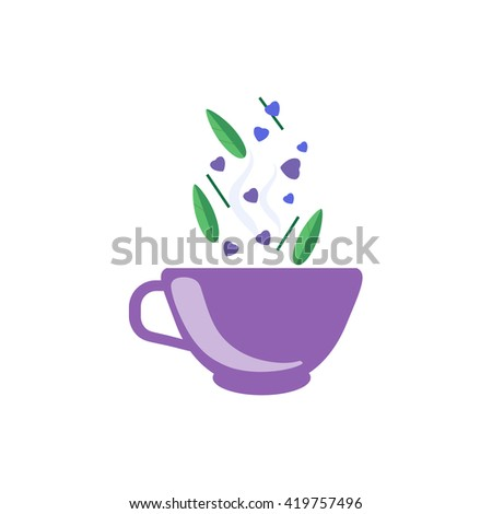 Tea Made With Love  In Purple Cup Flat Bright Color Simplified Vector Drawing On White Background