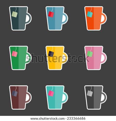 tea mugs in retro colors  - stock vector