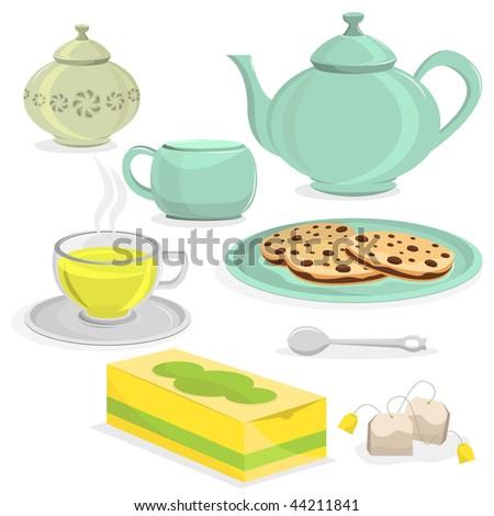 Tea Object Set. - stock vector