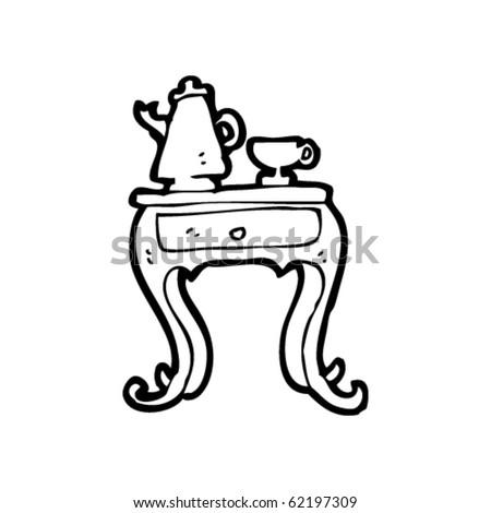 tea on table cartoon - stock vector