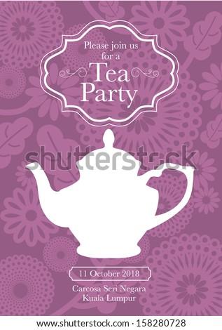 morning tea invitation template free - tea party invitation card template vectorillustration