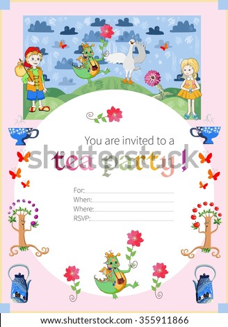 Tea party invitation for kids. Cute illustration of fairy land. Vector template.