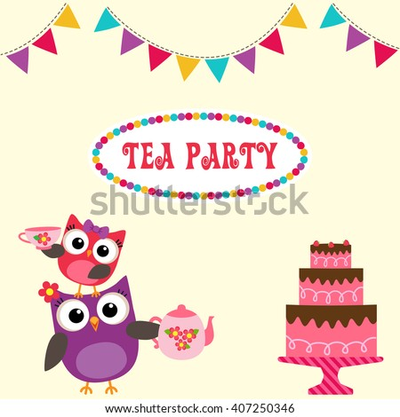 Tea party invitation with cute owls holding teapot and cup - stock vector