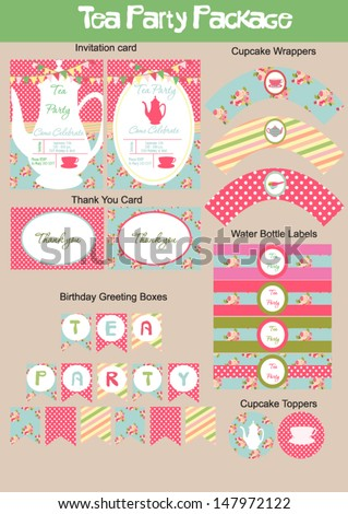 Tea Party Package collection - stock vector