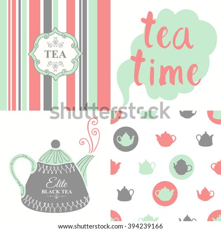 Tea party set with seamless background and sketch. Hot drinks menu. Vector Illustration with cups, teapots and pattern. Decorative elements for your packing design. Multicolor decor.