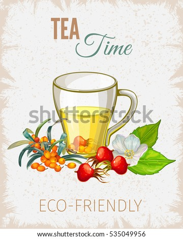 Tea poster. Vintage paper flyer for presentation. Vector illustration.