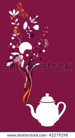 Tea pot on fuchsia background - stock vector