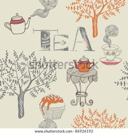 tea seamless background - stock vector