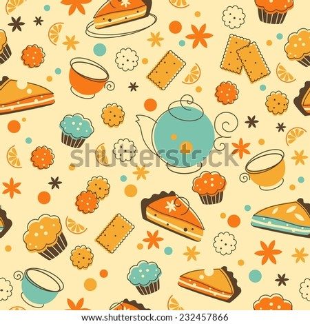 Tea seamless background in doodle retro style - stock vector