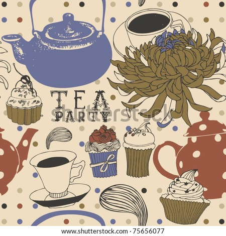 tea seamless background with cake and flower - stock vector