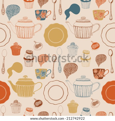 Tea seamless pattern with teapots, cups, saucers, berries, cupcakes. Vector illustration. - stock vector