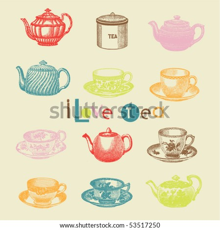 tea set - stock vector