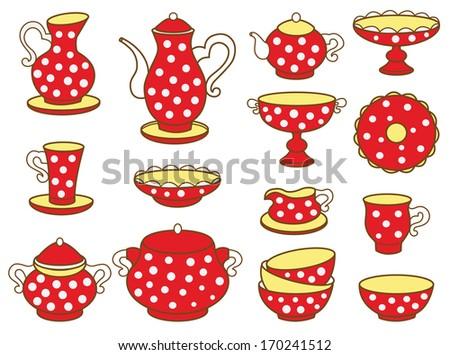 tea set (vector illustration)  - stock vector