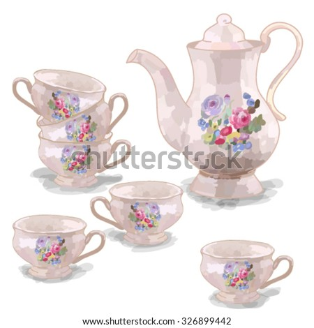 Tea set. Vector illustration - stock vector