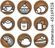 Tea stuff icons set. Vector - stock vector