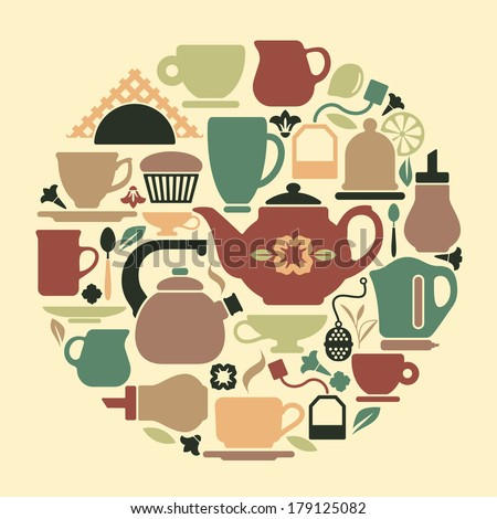 Tea symbols in the form of circle - stock vector